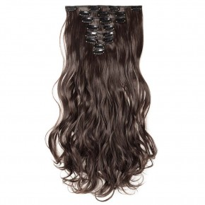 8 Pcs Curly Synthetic Clip In Hair Extensions #2 Dark Brown