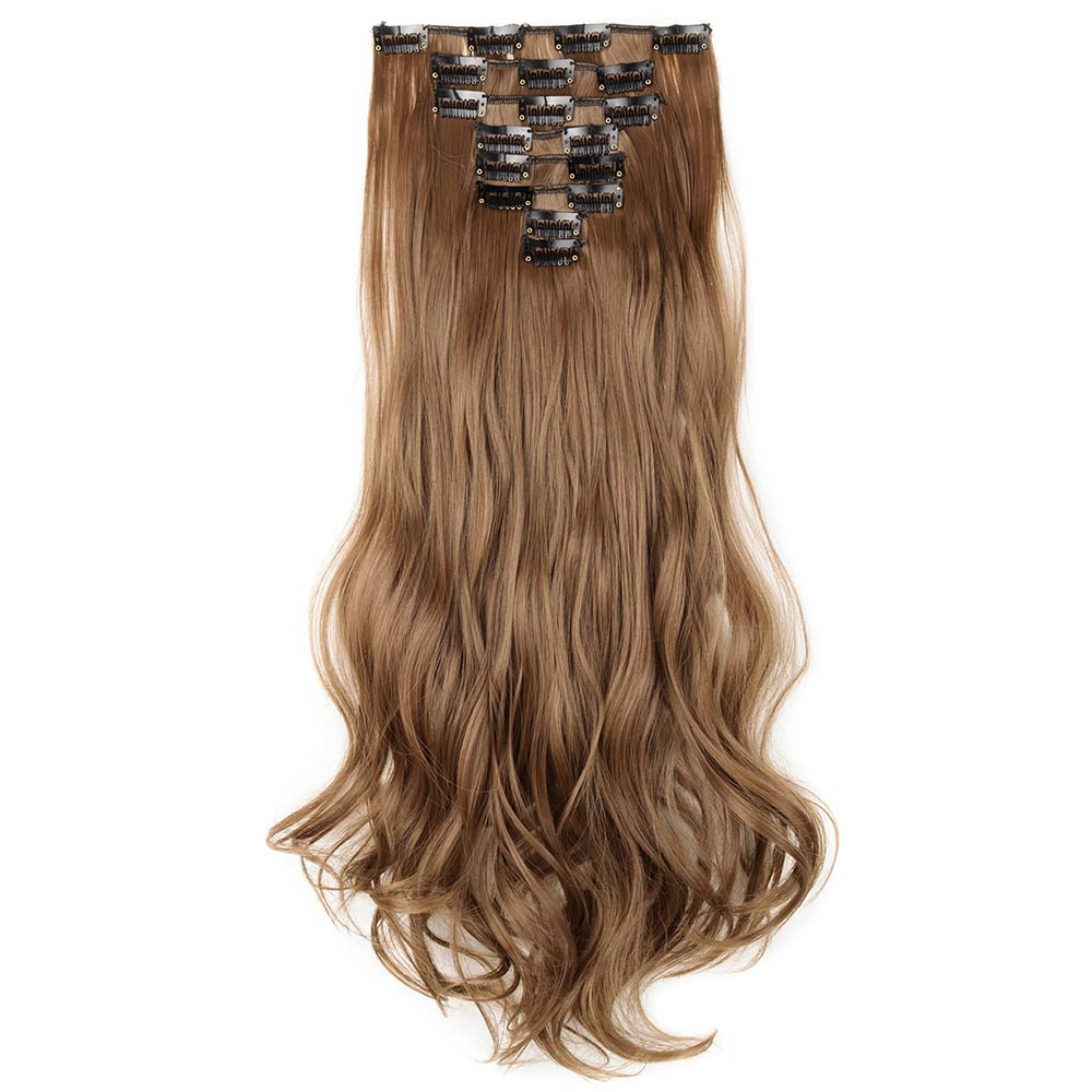 8 Pcs Curly Synthetic Clip In Hair Extensions 12 Light Brown