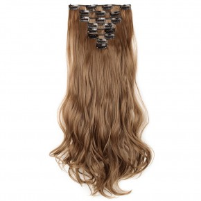 8 Pcs Curly Synthetic Clip In Hair Extensions #12 Light Brown