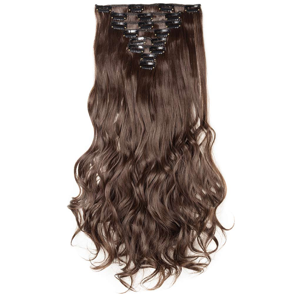 8 Pcs Curly Synthetic Clip In Hair Extensions #M4 Medium Brown