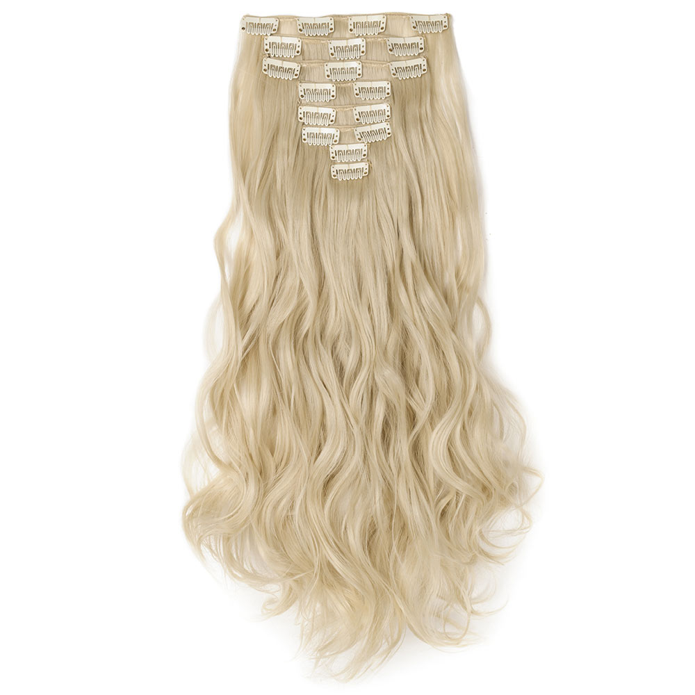 8 Pcs Curly Synthetic Clip In Hair Extensions 613 Bleach Blonde