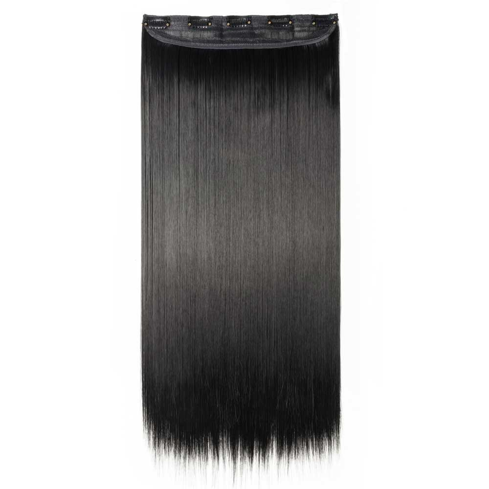 1 Piece Straight Synthetic Clip In Hair Extensions #1 Dark Black