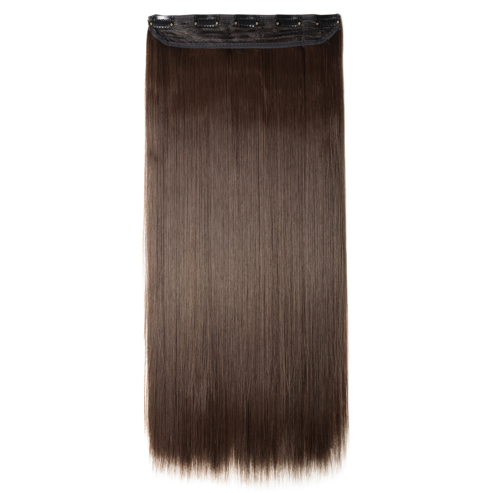 1 Piece Straight Synthetic Clip In Hair Extensions #M4 Medium Brown