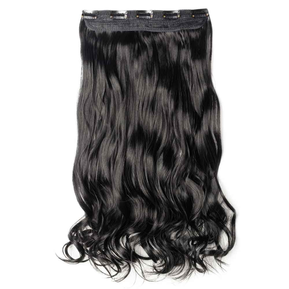 1 Piece Curly Synthetic Clip In Hair Extensions #1 Dark Black