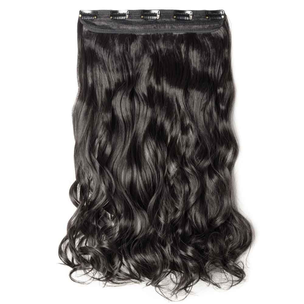 1 Piece Curly Synthetic Clip In Hair Extensions  #2A Natural Black