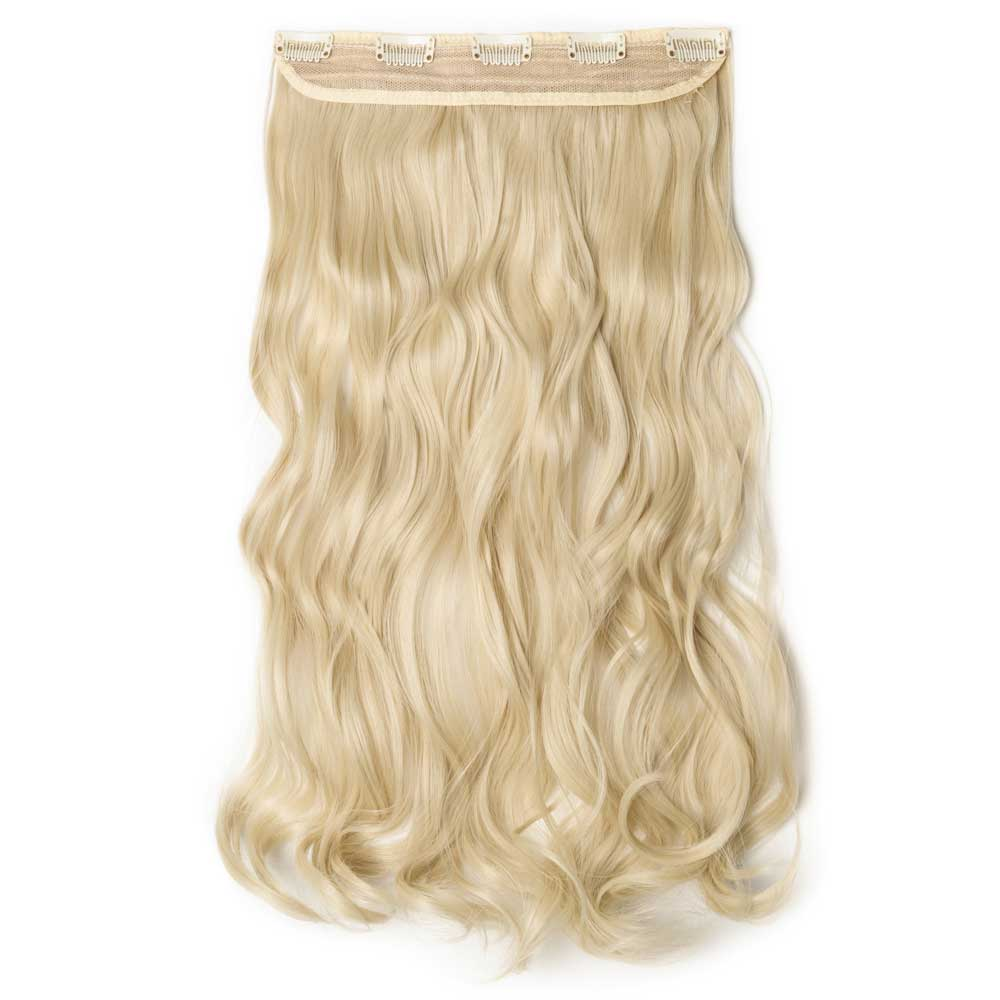 1 Piece Curly Synthetic Clip In Hair Extensions 613 Bleach Blonde