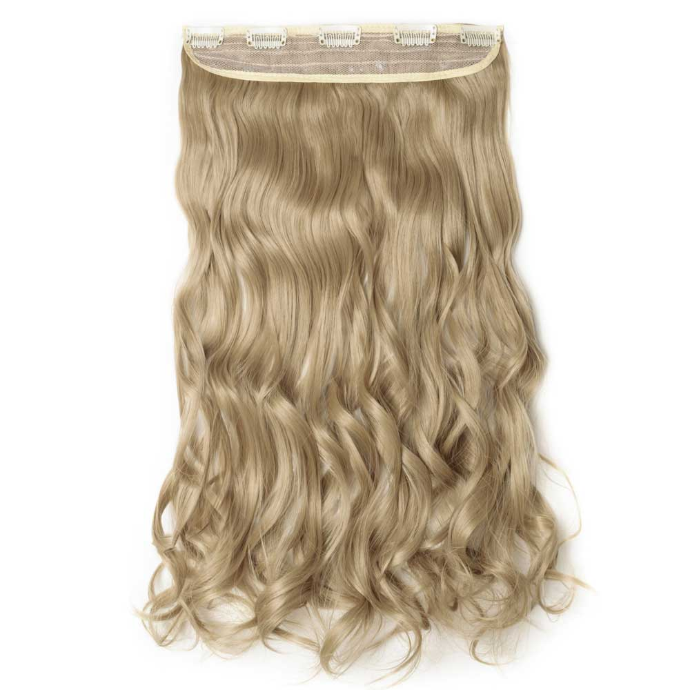 1 Piece Curly Synthetic Clip In Hair Extensions #24  Ash Blonde