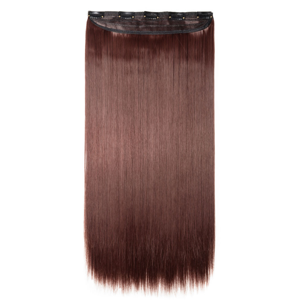 1 Piece Straight Synthetic Clip In Hair Extensions #33  Dark Auburn