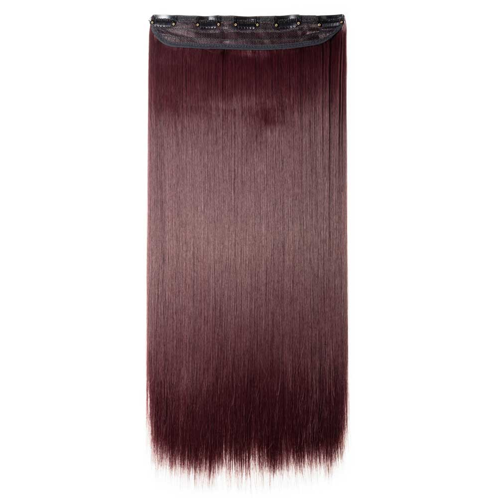 1 Piece Straight Synthetic Clip In Hair Extensions #110  Wine Red