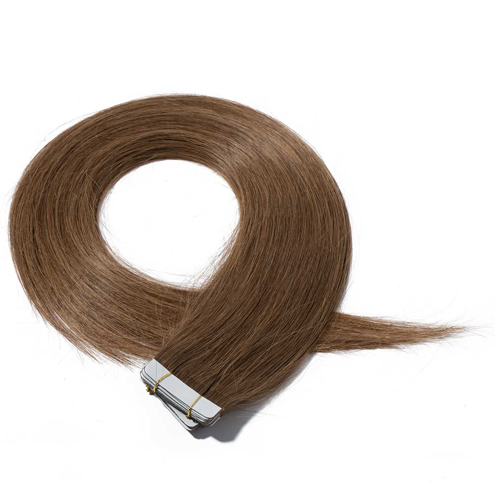 25gs 20pcs Straight Tape In Hair Extensions 6 Light Brown