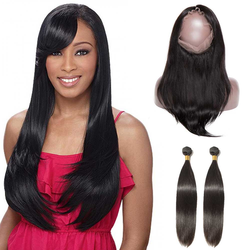 360 Lace Frontal Closure With 2 Bundles Straight 6A Virgin Brazilian Hair