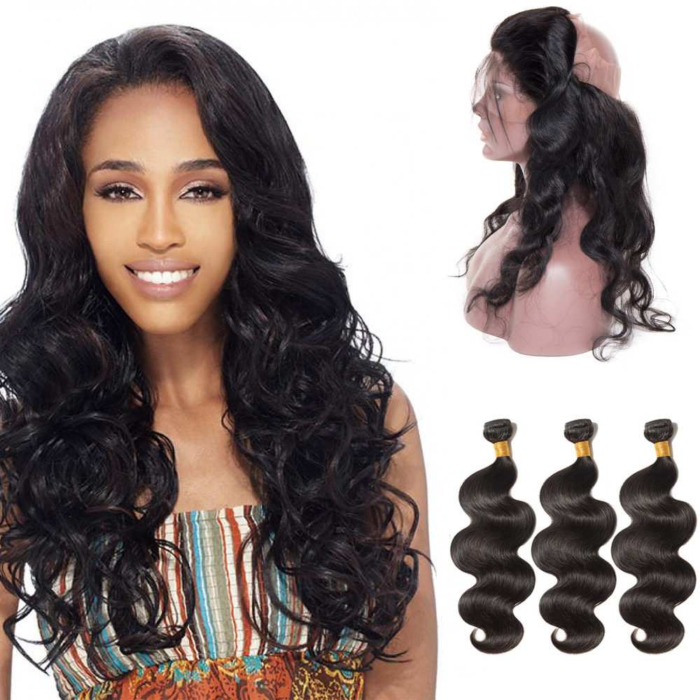360 Lace Frontal Closure With 3 Bundles Body Wavy 6A Virgin Brazilian Hair