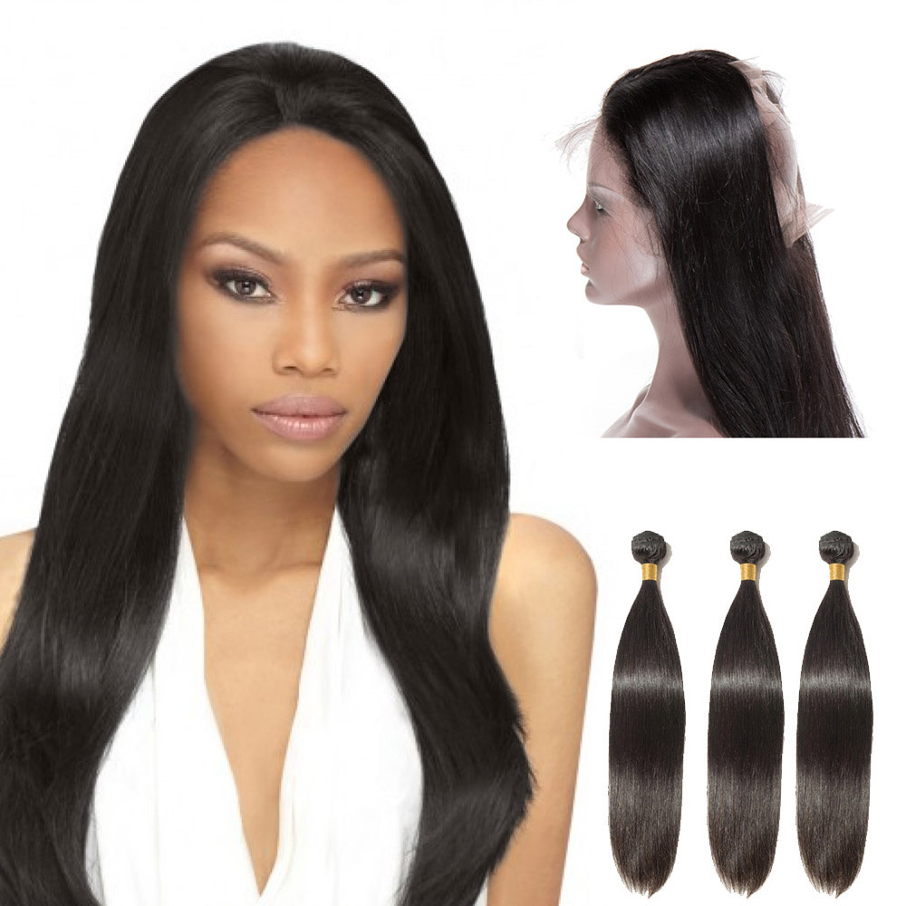 360 Lace Frontal Closure With 3 Bundles Straight 6A Virgin Brazilian Hair