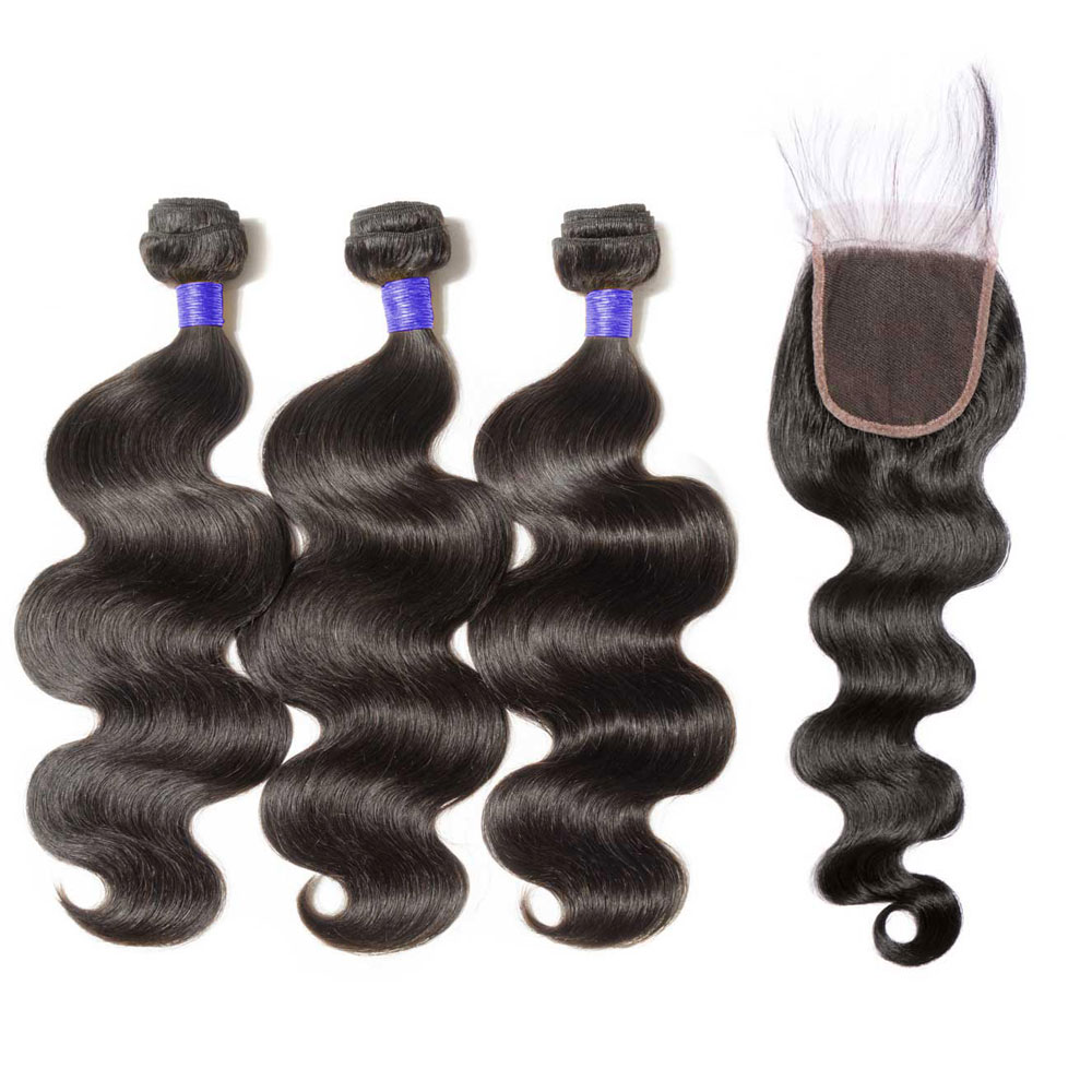 3 Bundles Body Wavy 6A Virgin Peruvian Hair With 4*4 Body Wavy Free Part Closure