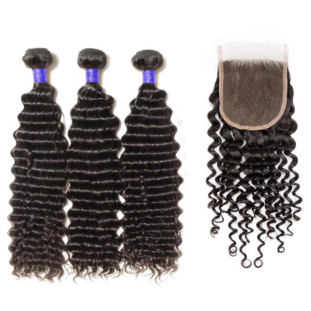 3 Bundles Deep Curly 6A Virgin Peruvian Hair With 4*4 Deep Curly Free Part Closure