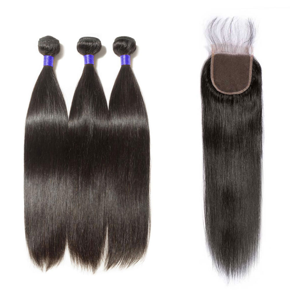 3 Bundles Straight 6A Virgin Peruvian Hair With 4*4 Straight Free Part Closure