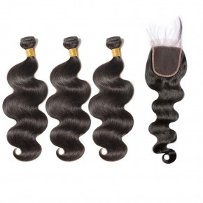 3 Bundles Body Wavy 6A Virgin Brazilian Hair With 4*4 Body Wavy Free Part Closure