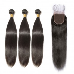3 Bundles Straight 6A Virgin Brazilian Hair With 4*4 Straight Free Part Closure