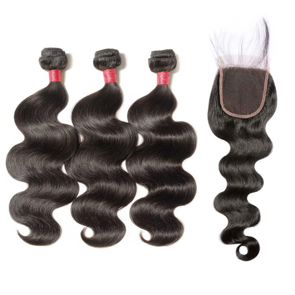 3 Bundles Body Wavy 6A Virgin Malaysian Hair With 4*4 Body Wavy Free Part Closure