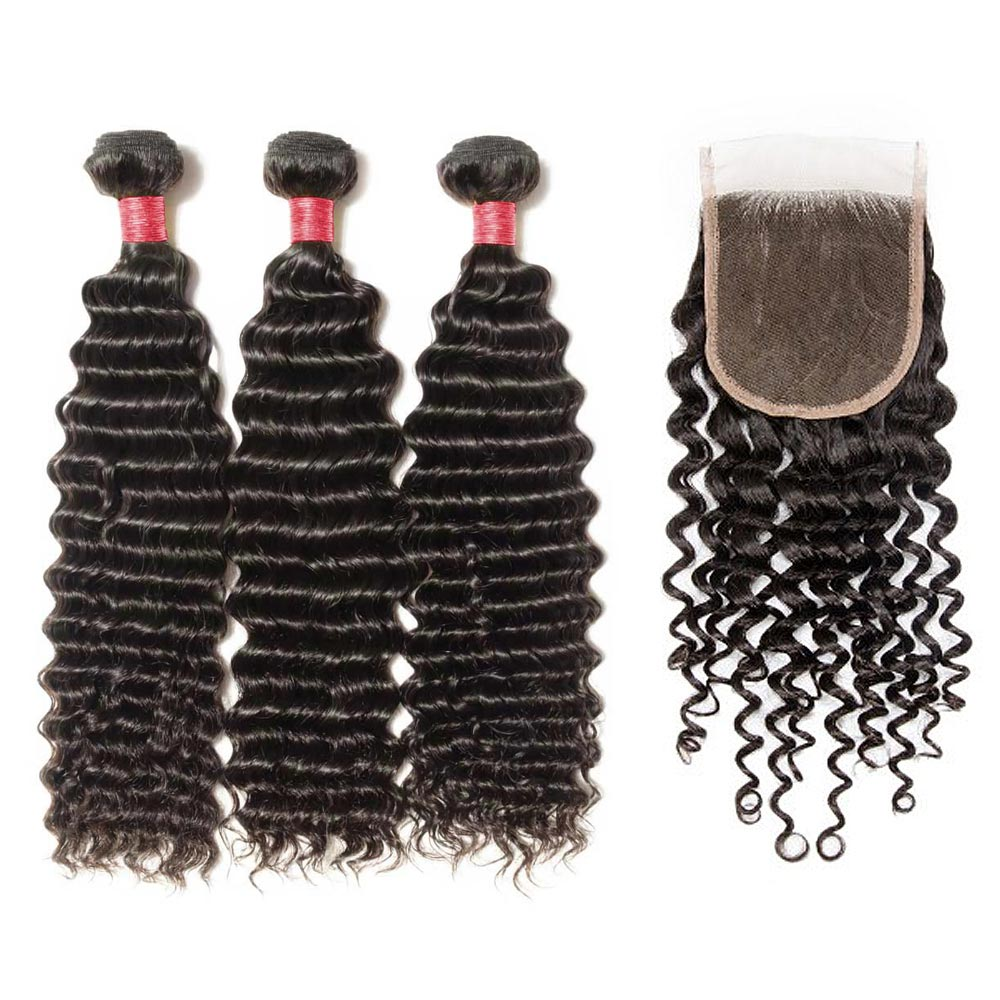 3 Bundles Deep Curly 6A Virgin Malaysian Hair With 4*4 Deep Curly Free Part Closure